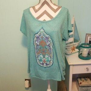 Lucky Brand tshirt XXL aqua color